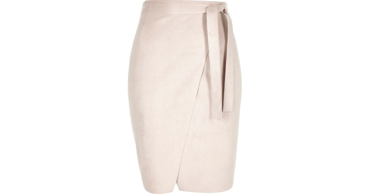 50a63b118a River Island Light Pink Faux-suede Wrap Pencil Skirt in Pink - Lyst