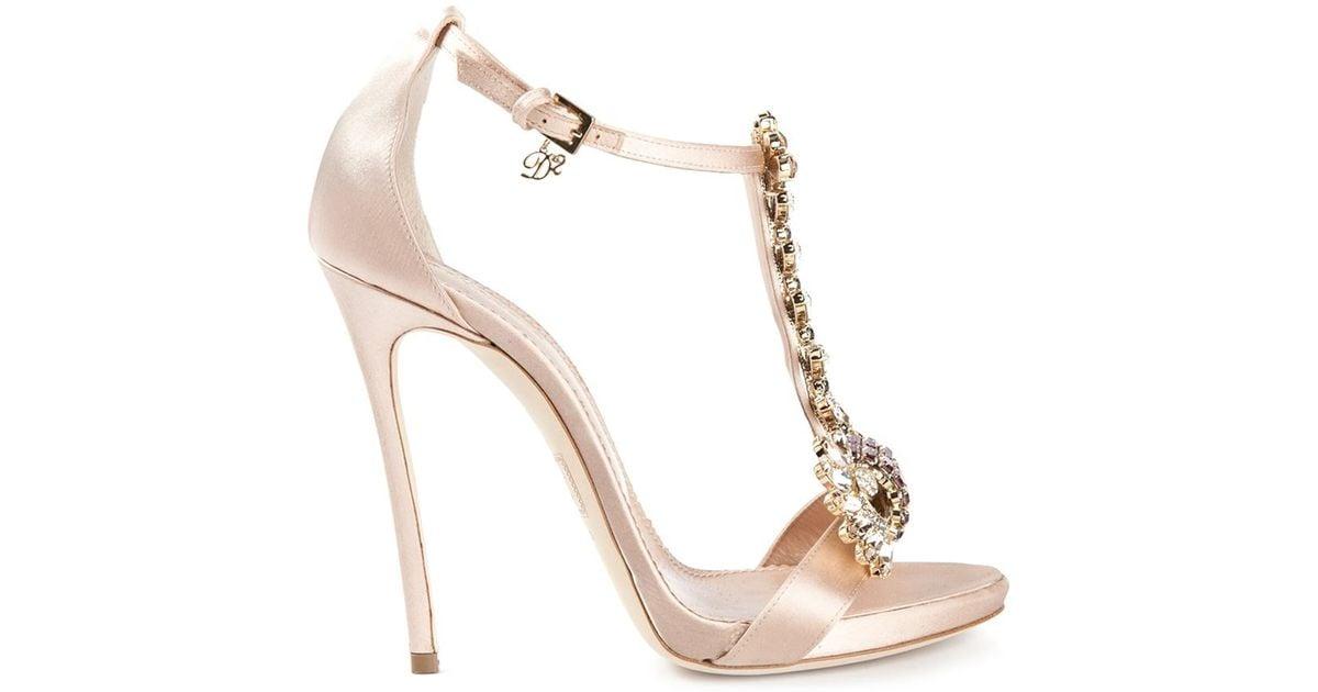 ecace6e09afa Lyst - DSquared² Embellished Sandals in Pink