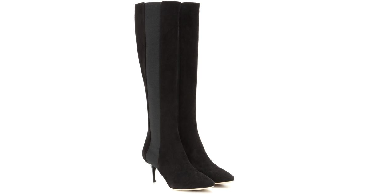 a15cc5a11c Jimmy Choo Faith 65 Knee-high Suede Boots in Black - Lyst