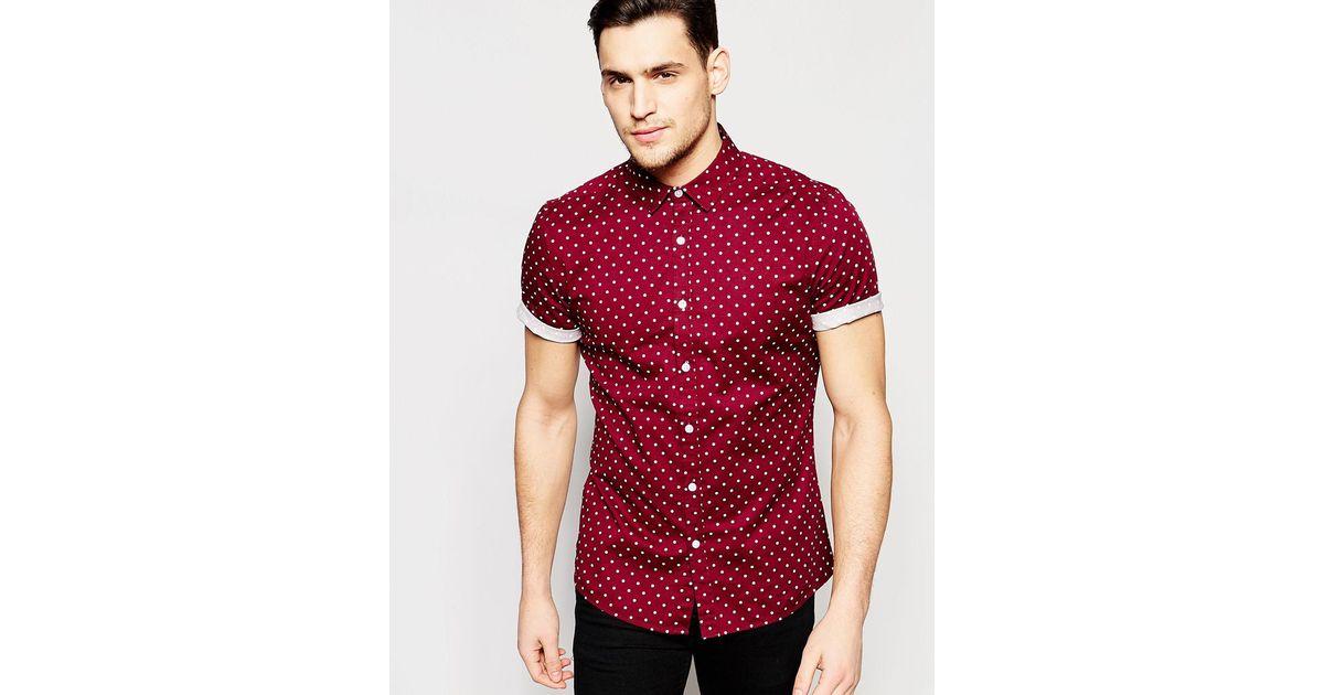 62ceed2131d8 Lyst - ASOS Skinny Polka Dot Shirt In Burgundy With Short Sleeves in Red  for Men