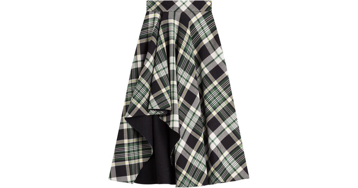 6fae124650 Alexander McQueen Tartan-check Wool Fluted Midi-skirt in Green - Lyst