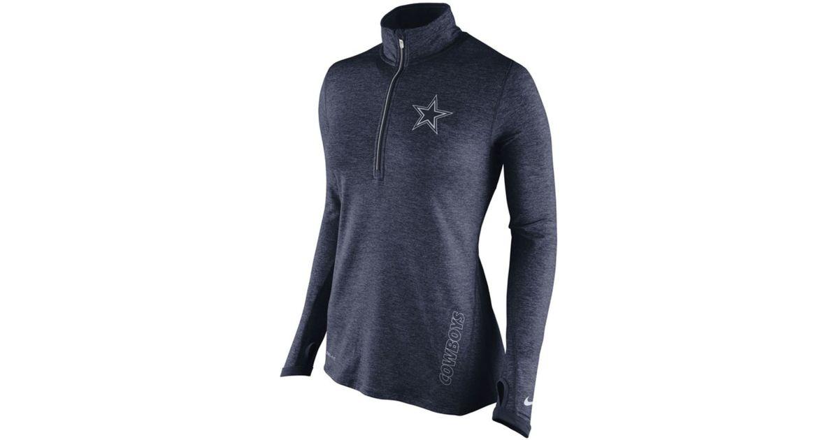 0071346d37d0df Nike Women's Dallas Cowboys Stadium Element Quarter-zip Pullover in Blue -  Lyst