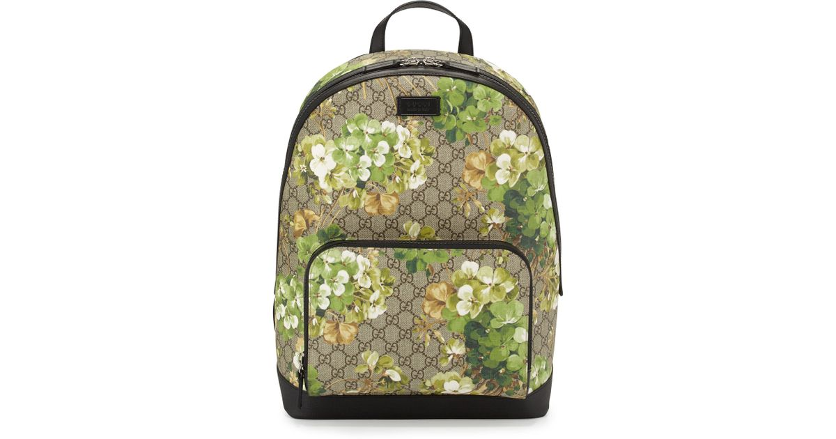 91dd887acb5 Lyst - Gucci Gg Blooms Canvas Backpack in Blue