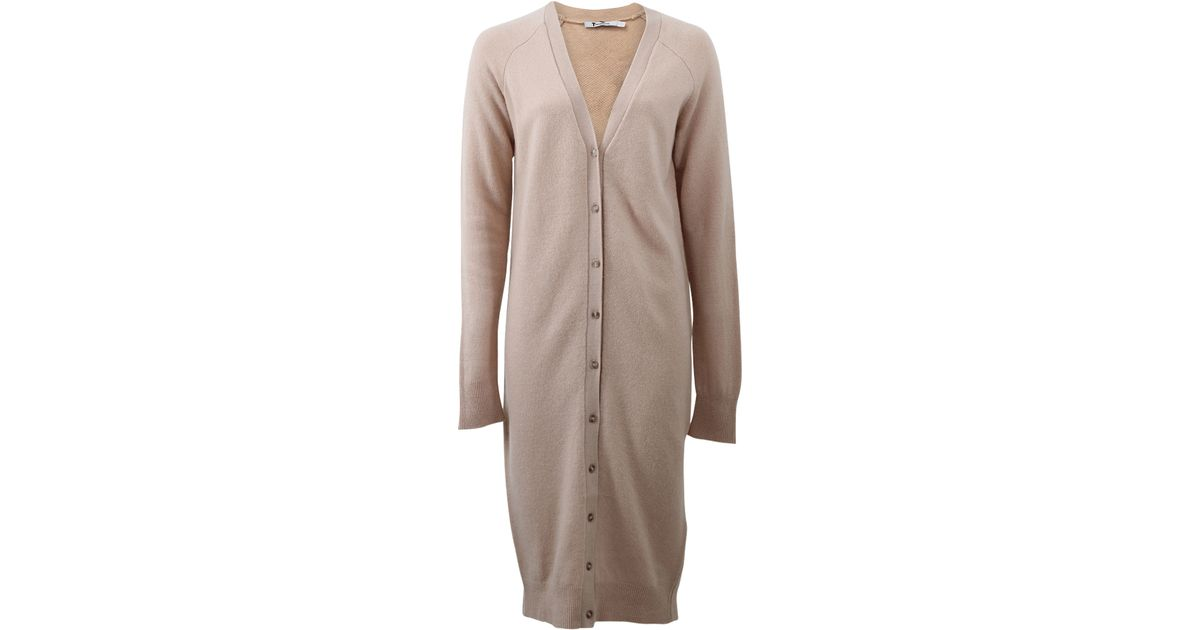 Lyst - T By Alexander Wang Floor Length Cardigan Dress in Natural 03f937260