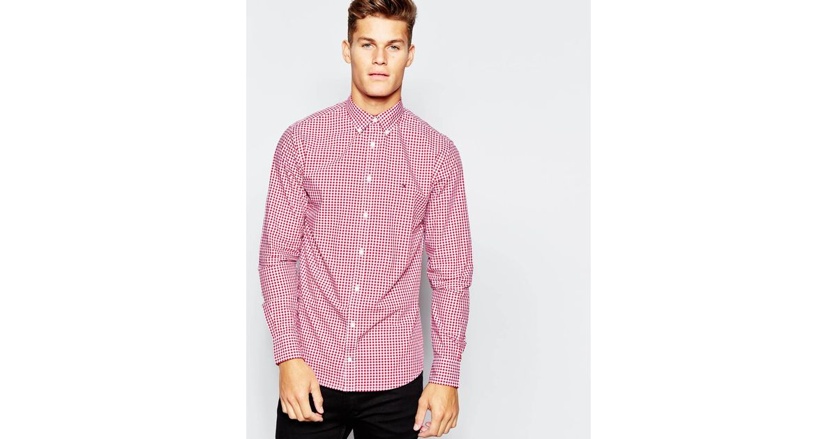 Tommy hilfiger shirt in gingham in red for men lyst for Tommy hilfiger gingham dress shirt