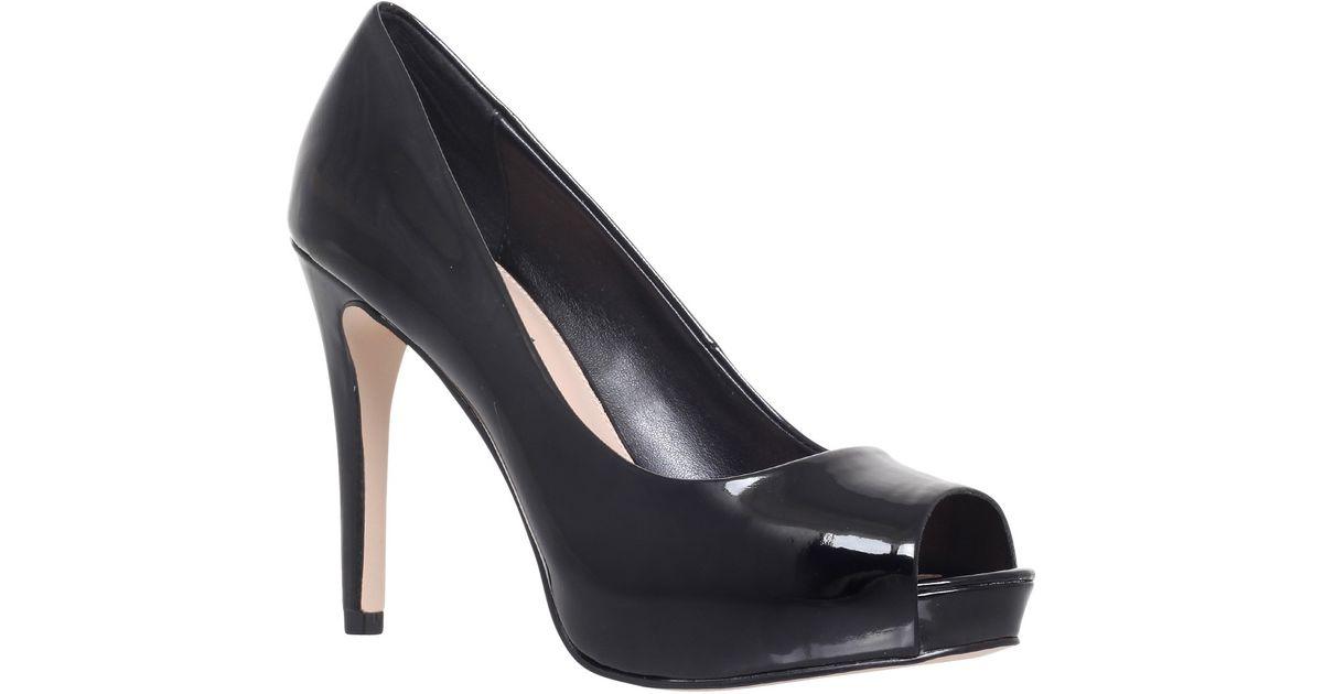 carvela kurt geiger lara peep toe patent court shoes in