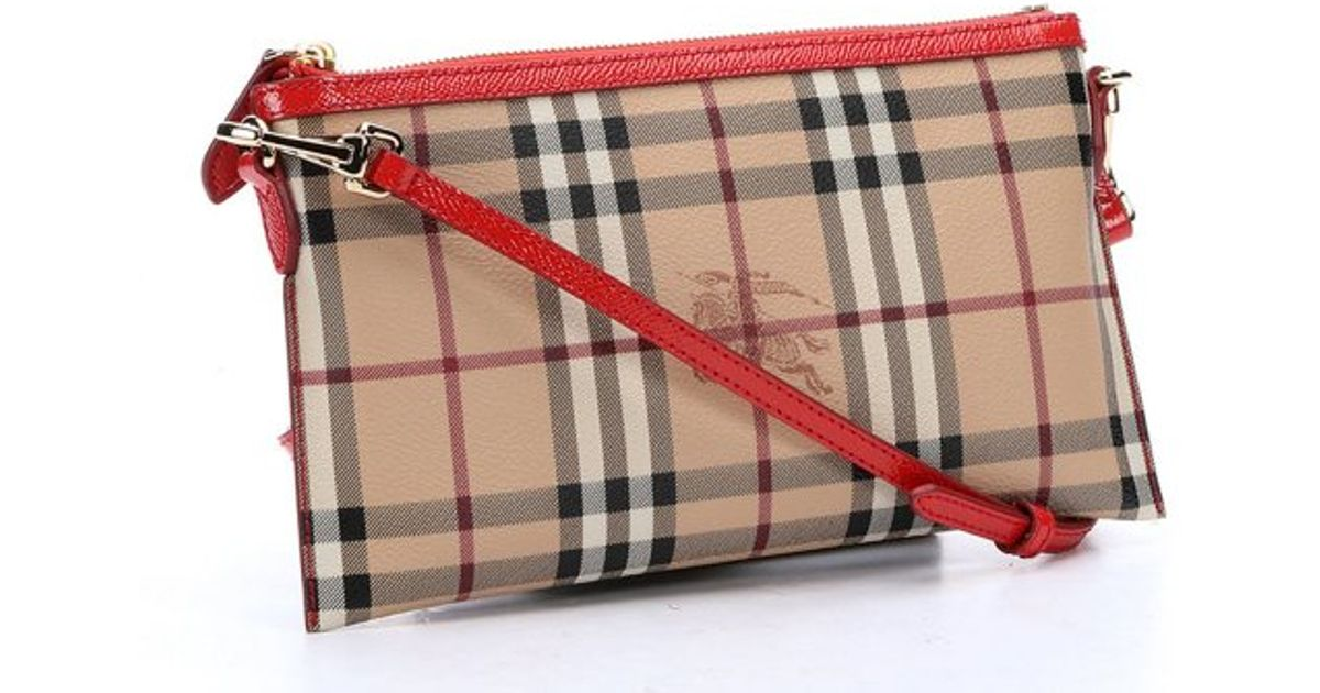 24170b3d15b1 Burberry Red Haymarket Check Coated Canvas  Peyton  Crossbody Bag in Red -  Lyst