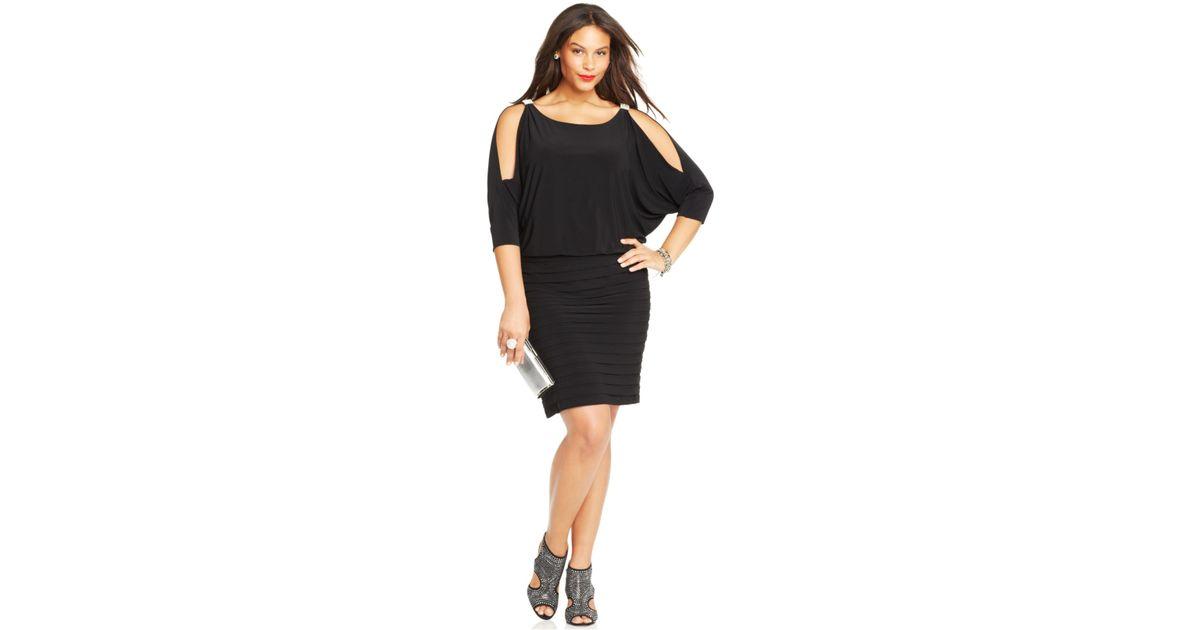 Xscape Plus Size Cold-Shoulder Blouson Dress in Black - Lyst