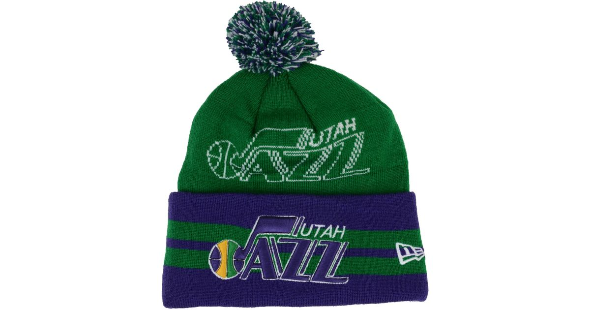 Lyst - Ktz Utah Jazz Hardwood Classics Wide Point Pom Knit Hat in Green for  Men 40cac85aac8