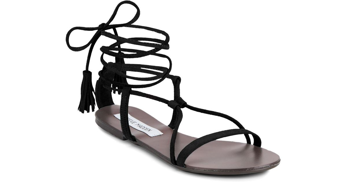 48e073355d7a Lyst - Steve Madden Suede Open-toe Lace-up Sandals in Black