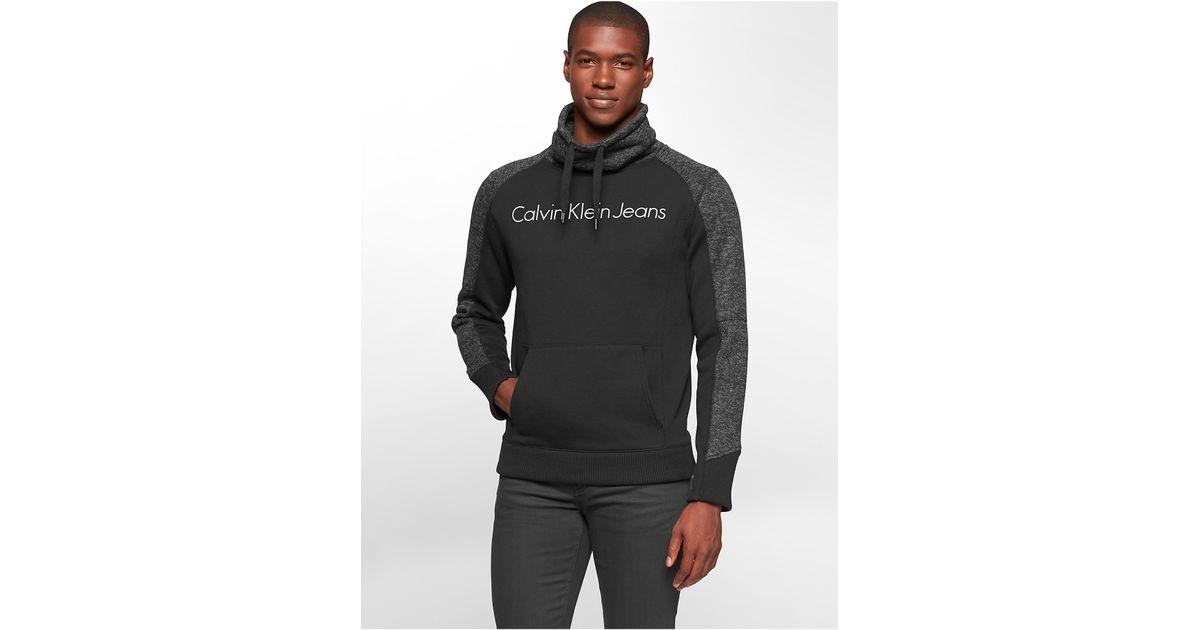 calvin klein jeans melange funnel neck fleece sweatshirt. Black Bedroom Furniture Sets. Home Design Ideas