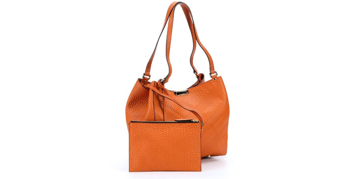 d10e40632c12 Burberry Copper Orange Check Embossed Calfskin  canterbury  Tote Bag in  Orange - Lyst