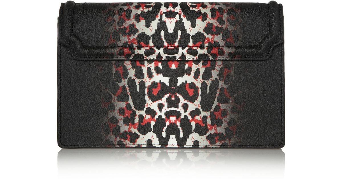 a41b8501dedb Mcq Simple Fold Leopard-Print Textured-Leather Shoulder Bag in Black - Lyst