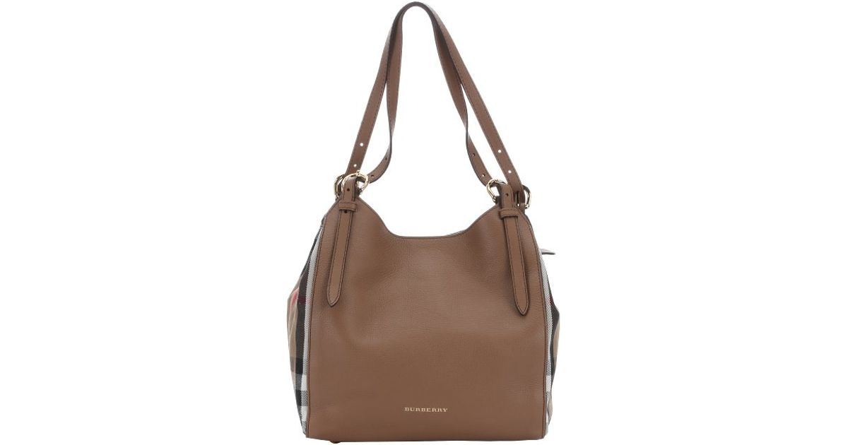 f08b928e6f6 Burberry Dark Sand Leather And House Check Canvas Small  Canterbury  Tote  in Brown - Lyst