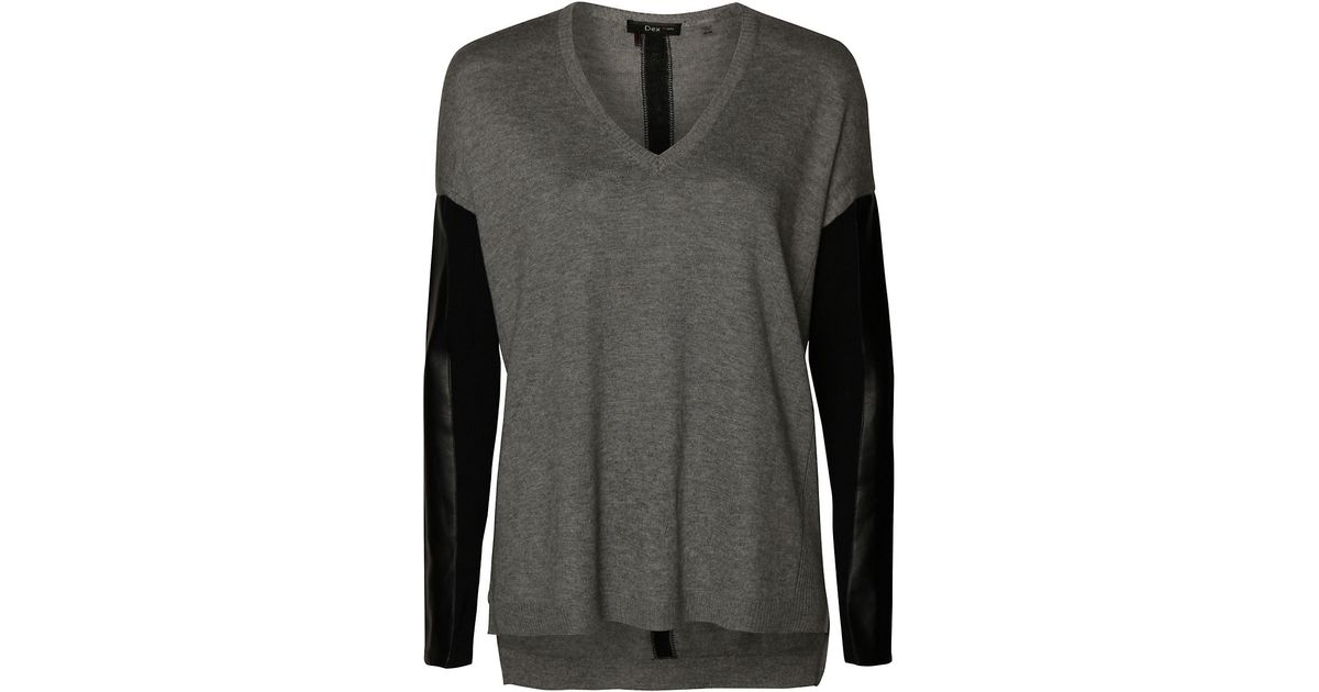 1749f4fba Lyst - Dex Faux Leather-trimmed Jersey Hi-lo Top in Gray