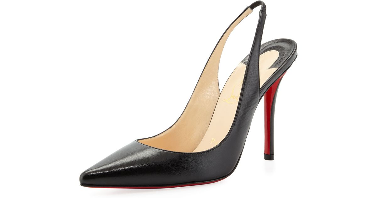 Christian Louboutin Apostrophe Red-sole Slingback Pump in Black - Lyst