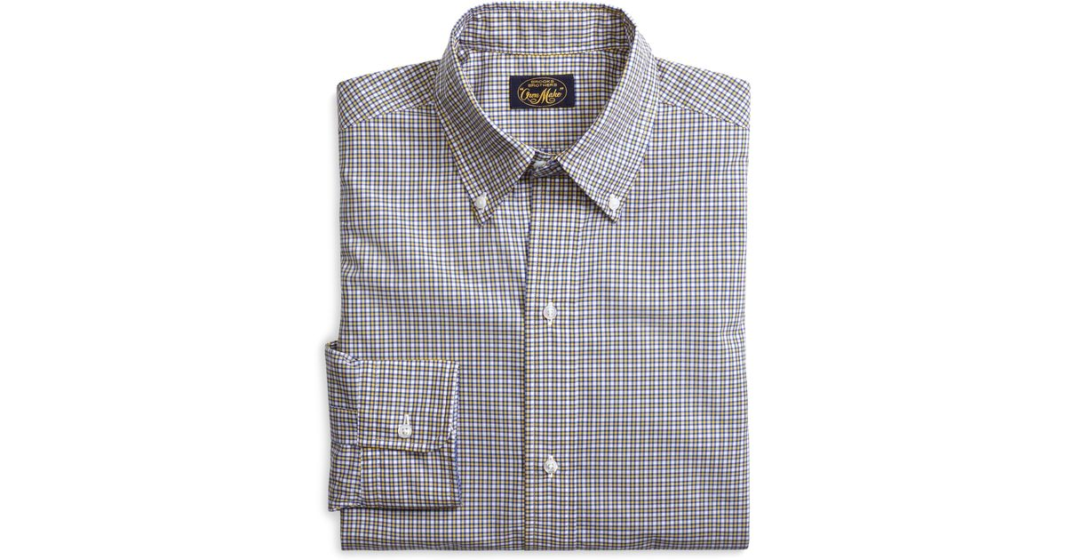 Brooks brothers own make yellow and blue mini plaid sport for Blue and yellow plaid dress shirt
