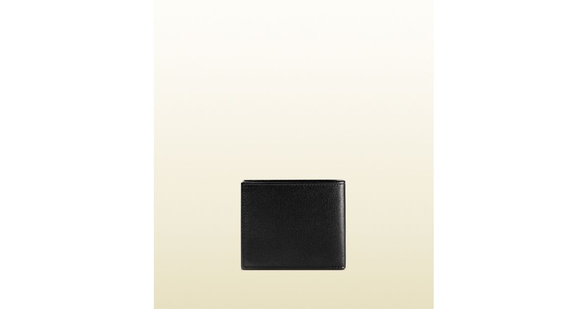 fadf5ec1ddf354 Gucci Leather Bi-fold Wallet With Printed Interior in Black for Men - Lyst