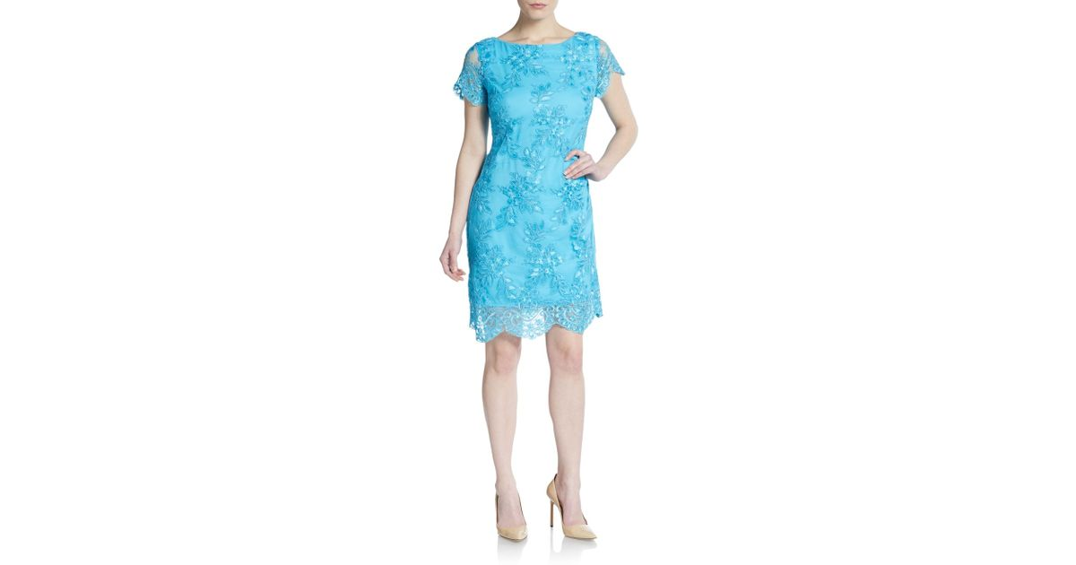 Alexia admor embroidered lace cap sleeve dress in blue lyst