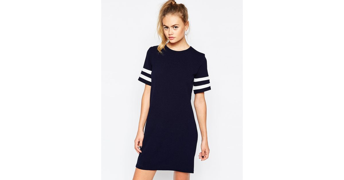 9a8a3b668bf Lyst - Daisy Street Shift Dress With Contrast Stripe Sleeve in Blue