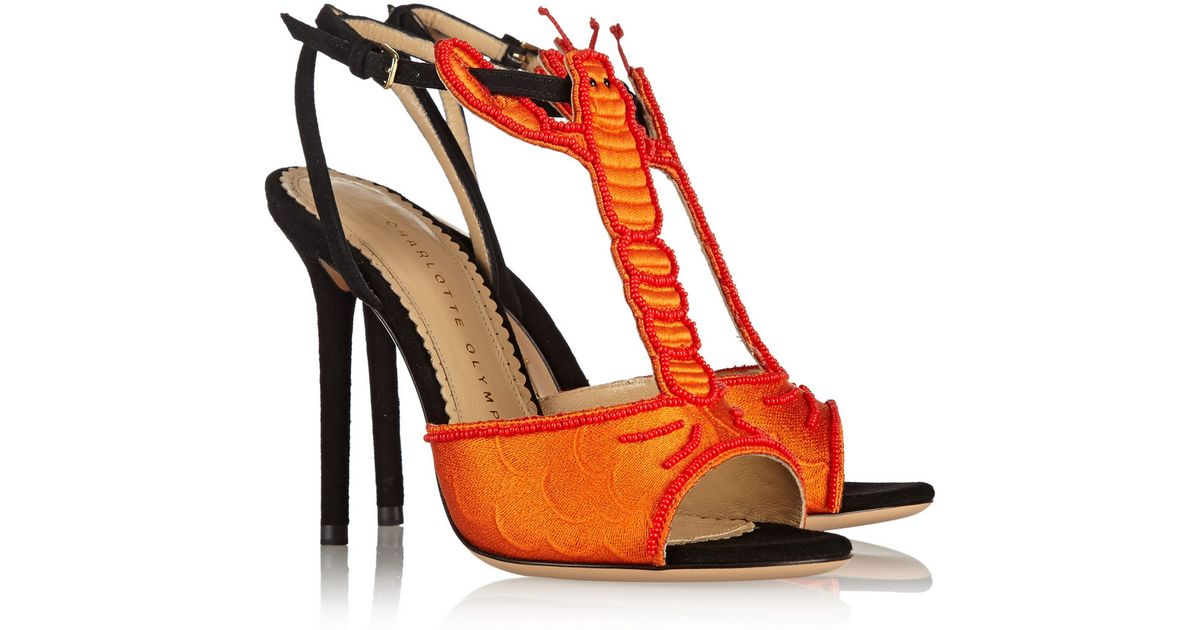 725c53a02f946 Charlotte Olympia Elsa Embroidered Suede Sandals in Orange - Lyst