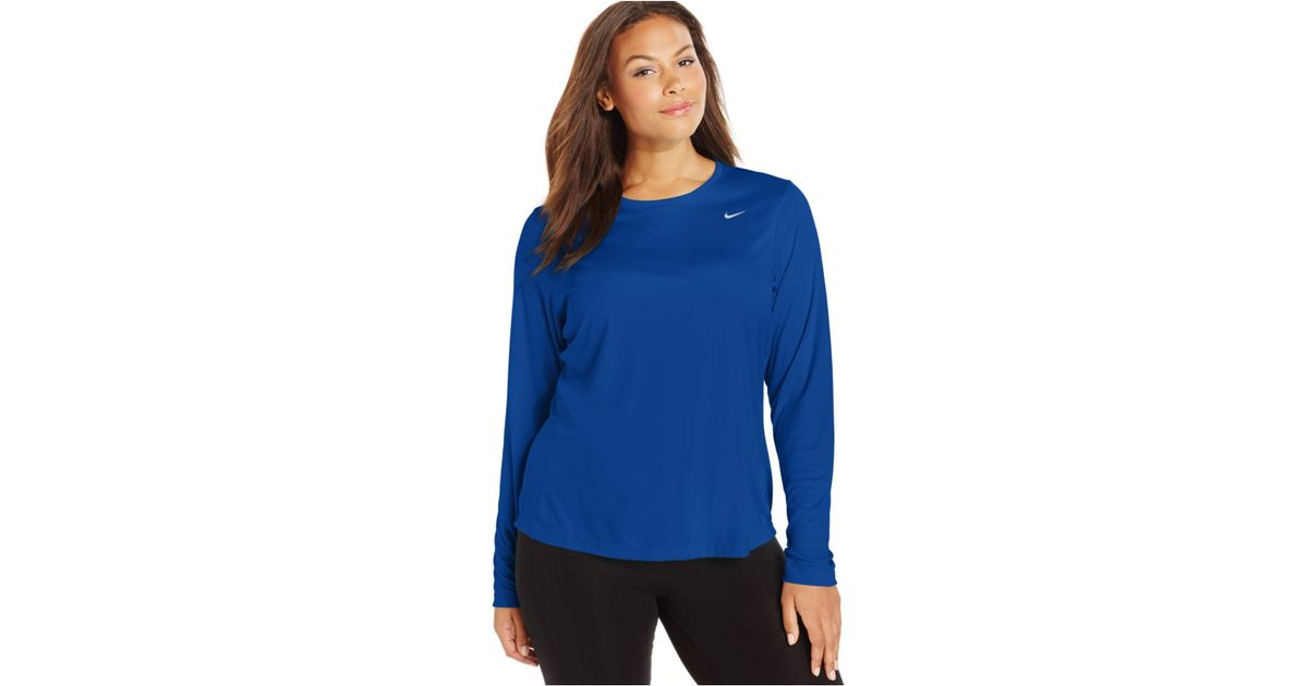 Nike plus size long sleeve dri fit running top in blue for Best athletic dress shirts