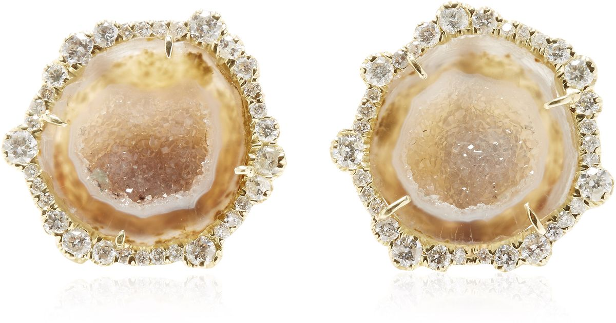 Lyst Kimberly Mcdonald One Of A Kind Neutral Geode And Irregular Diamond Stud Earrings In Yellow