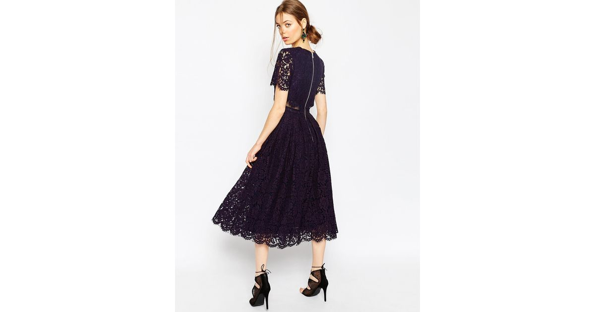 Asos Lace Crop Top Midi Prom Dress in Black - Lyst