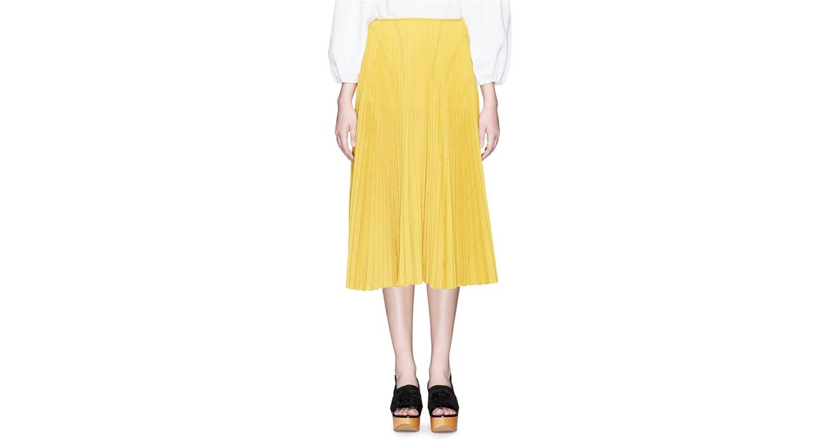 cedric charlier pliss 233 pleat midi skirt in yellow lyst