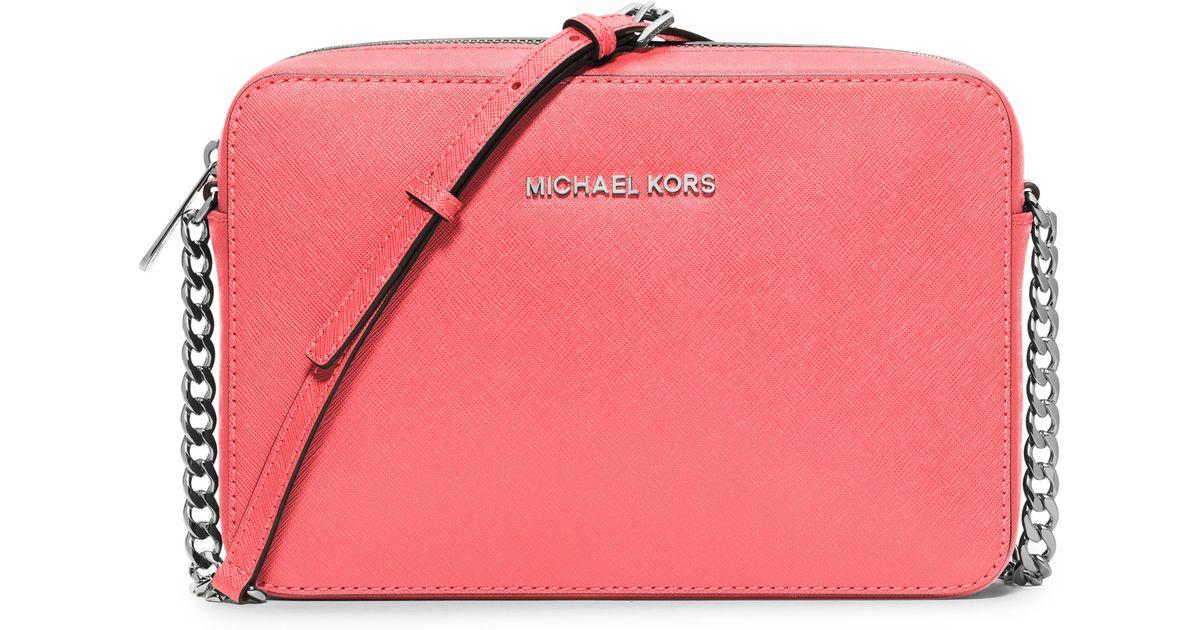 632217030317 michael kors jet set large saffiano leather crossbody pale pink ...