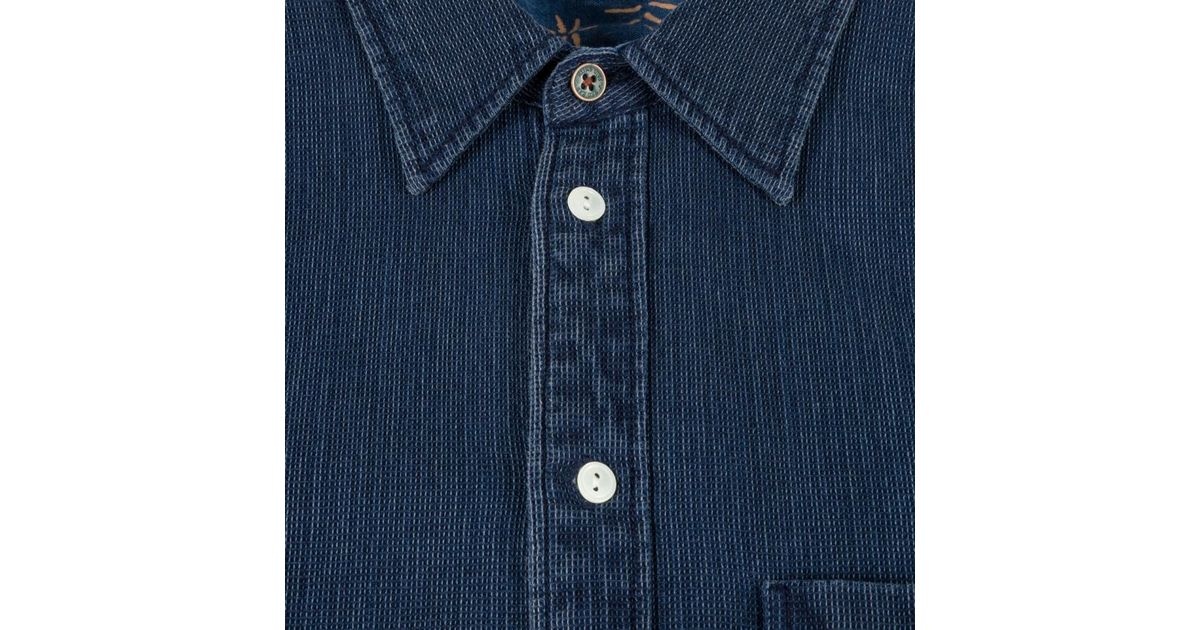 9d424d16 Paul Smith Men's Indigo-dyed Short-sleeve Waffle-cotton Shirt in Blue for  Men - Lyst