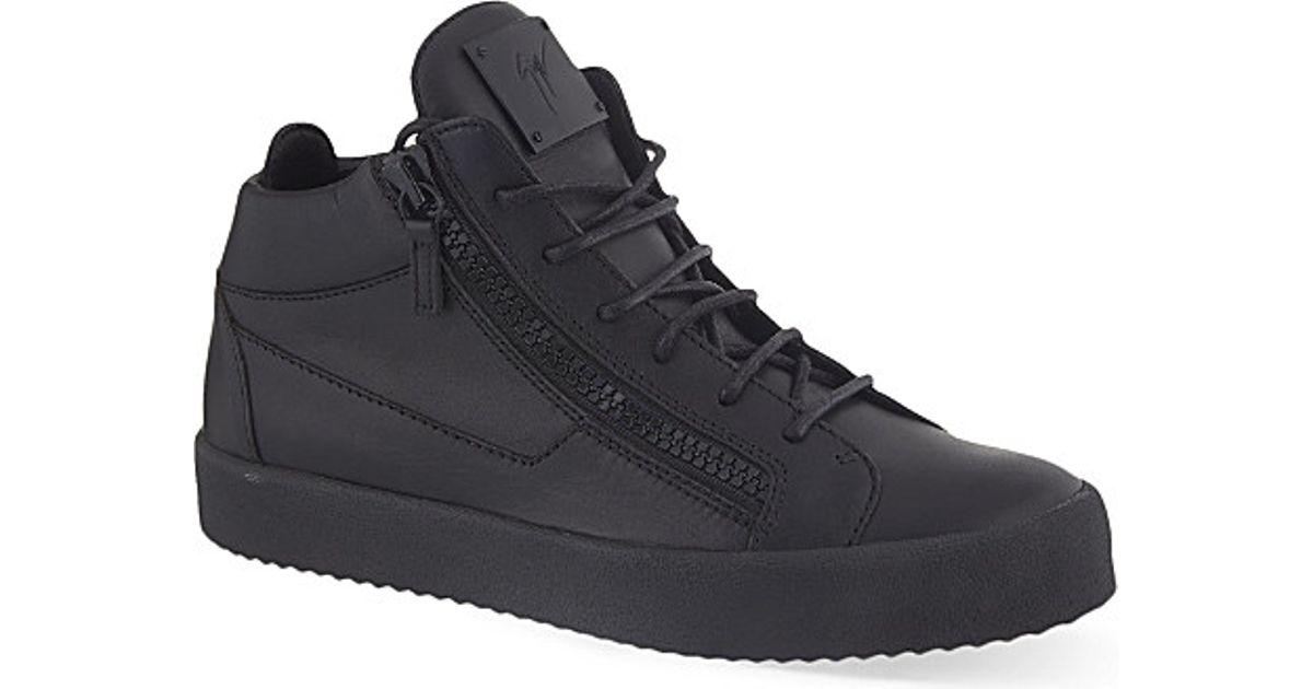 huge discount ea20f f5500 Giuseppe Zanotti Mono Mid-top Leather Trainers in Black for
