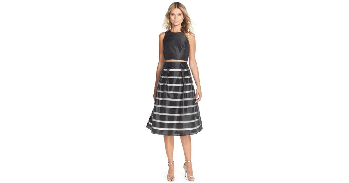 25e8ca4a Lyst - Xscape Shadow Stripe Satin Two-piece Dress in Black