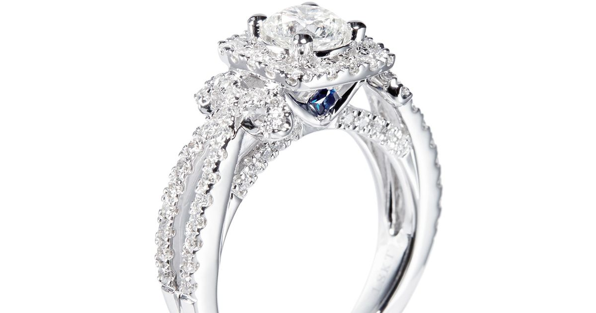 Vera Wang Love Ribbons And Bows Diamond And White Gold Diamond Engagement Ring In Silver White