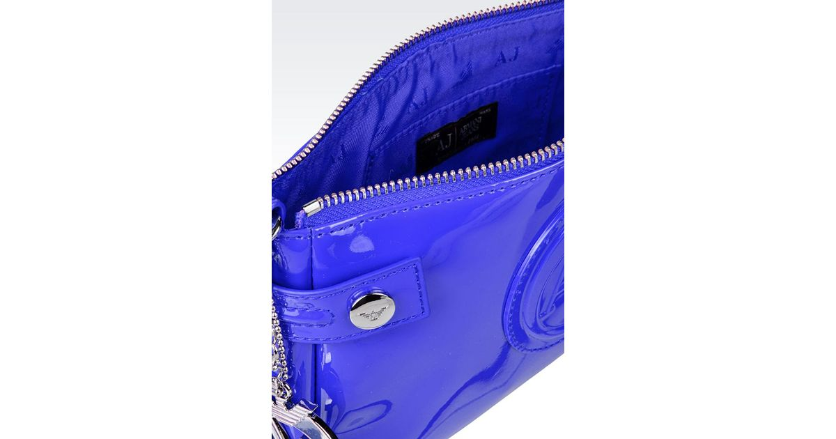 35c41d2df4 Lyst - Armani Jeans Baguette Bag In Patent Faux Leather With Pendant in Blue