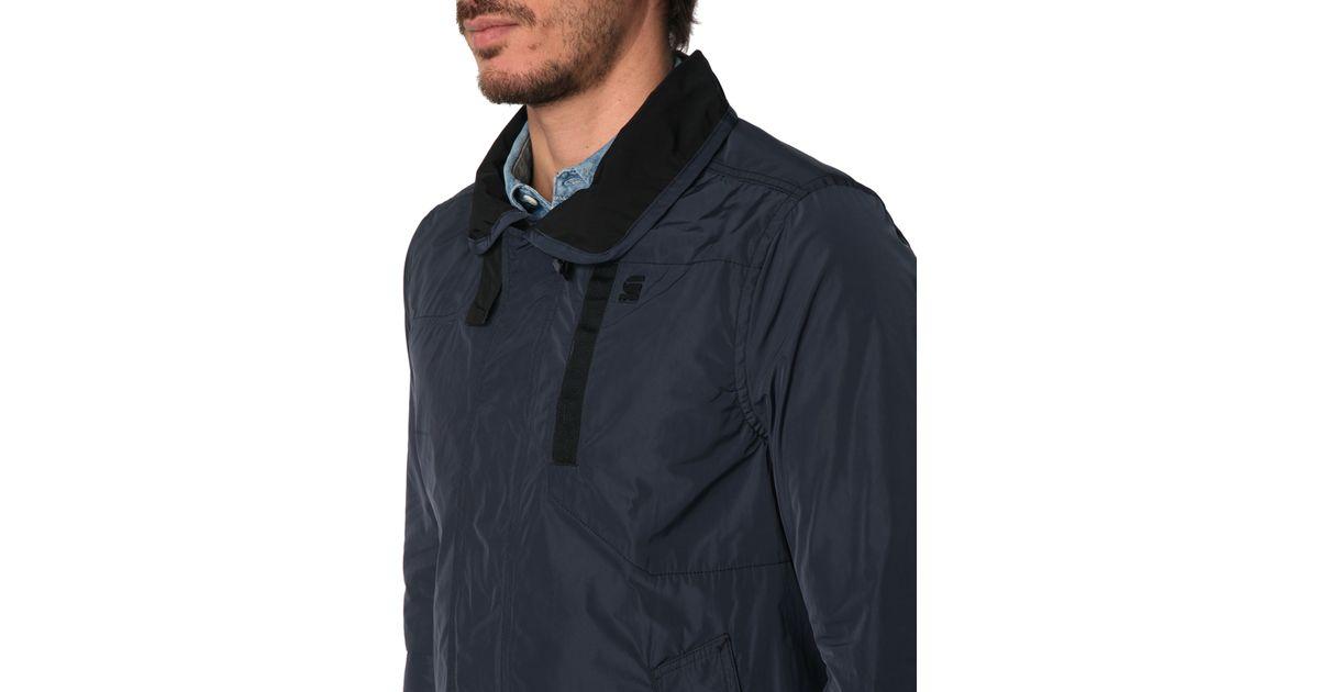 g star raw navy nylon garber trench coat in blue for men lyst. Black Bedroom Furniture Sets. Home Design Ideas
