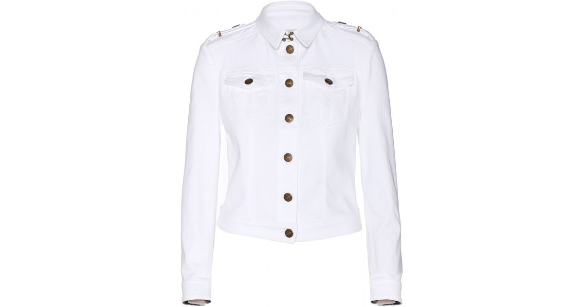 407cbba288cb Lyst - Burberry Brit Brierly Cropped Denim Jacket in White