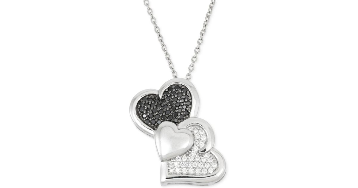 Wrapped in love Black And White Diamond Heart Pendant Necklace 1 3 Ct T w