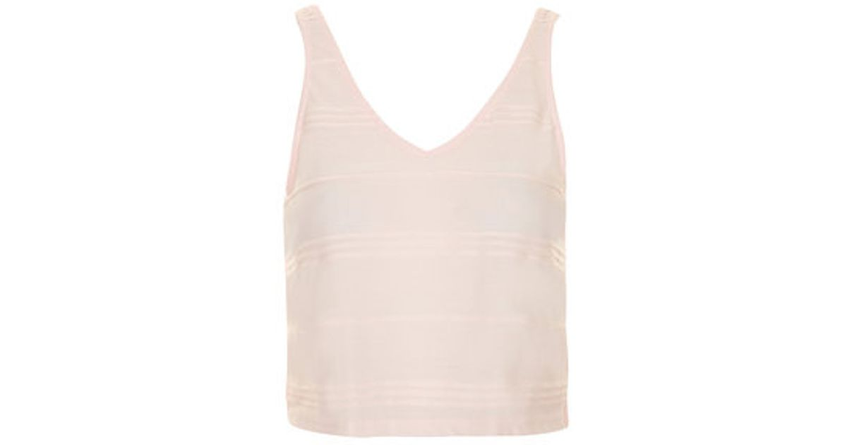 7ac6cef047007 Lyst - TOPSHOP Petite Variegated Striped Crop Top in Pink