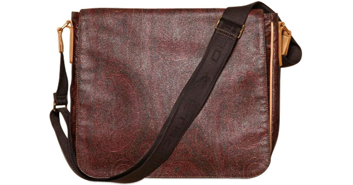Paisley Waxed Etro Lyst For In Canvas Messenger Brown Print Men Bag wnON8k0PX