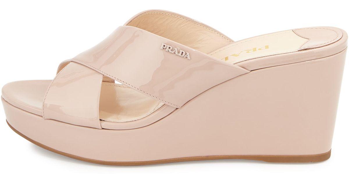 aa3d904b9bf Lyst - Prada Patent Crisscross Wedge Slide Sandal in Natural