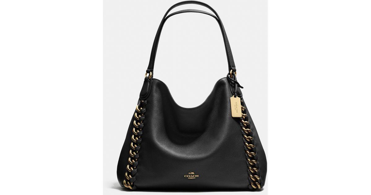 91a37c215f Lyst - COACH Edie Leather Shoulder Bag in Black