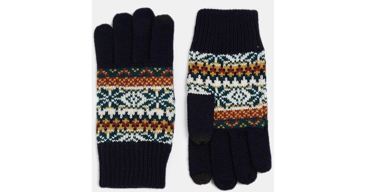 Asos Fair Isle Gloves in Blue for Men | Lyst