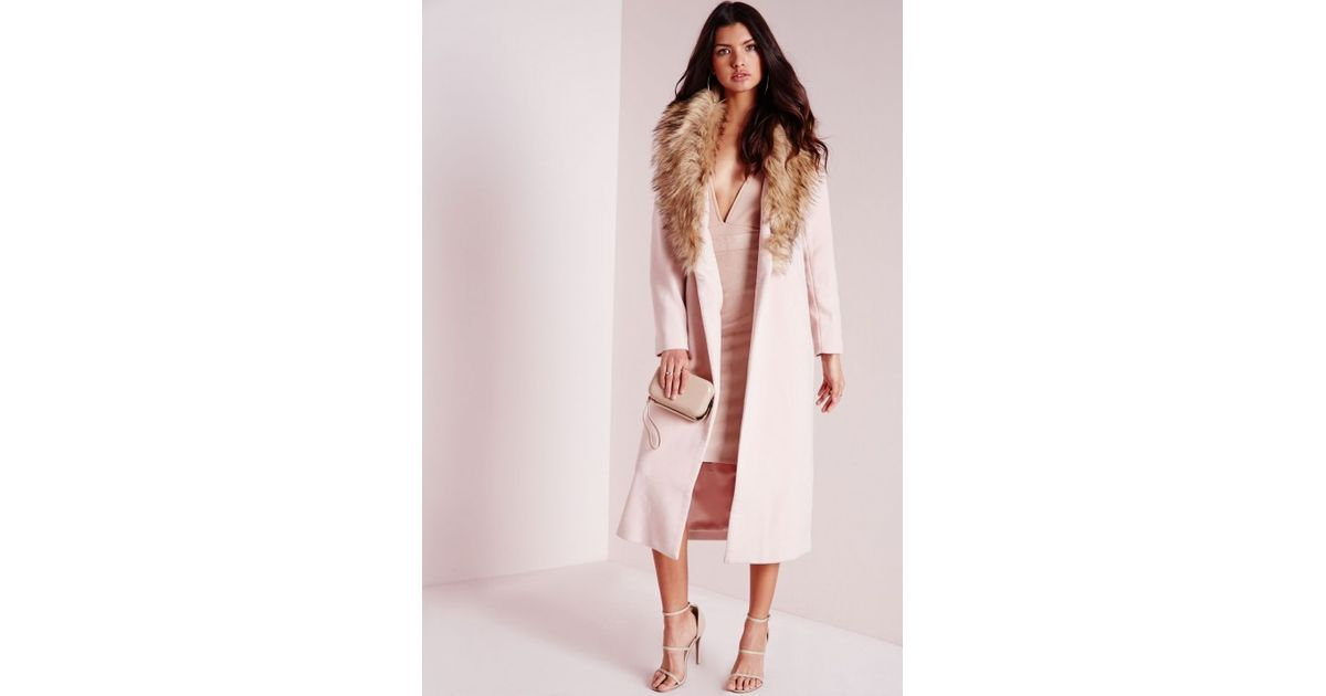 bfb34b1dde55 Lyst - Missguided Longline Wool Coat With Faux Fur Collar Blush Pink in Pink