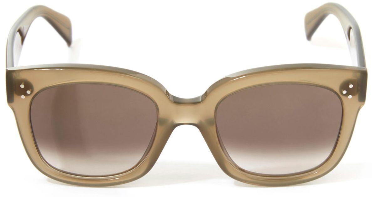 4831c7bb6fa Céline Khaki New Audrey Sunglasses in Natural - Lyst