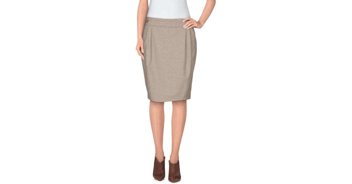 fabiana filippi knee length skirt in khaki lyst