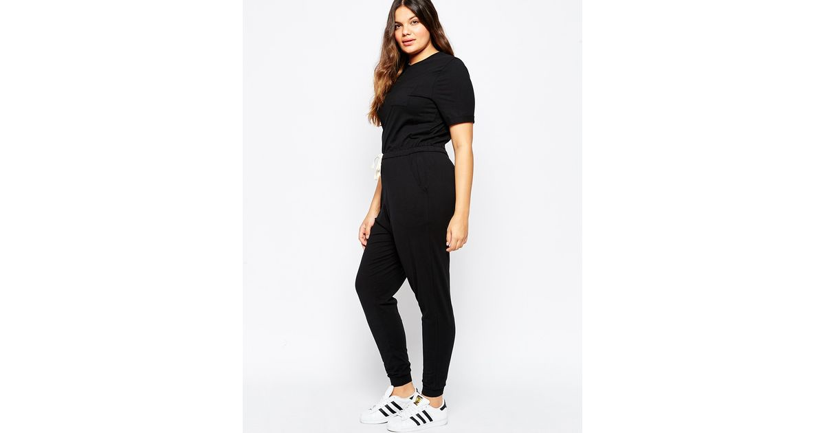 8de2437487c Lyst - ASOS Casual Jumpsuit With Drawstring in Black