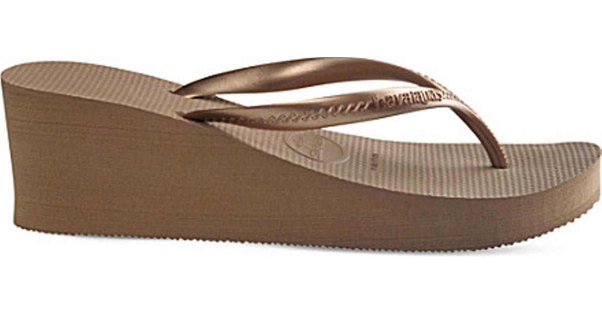 f02bb1331ea309 ... Lyst - Havaianas High Fashion Wedge Flip-flops in Metallic pretty nice  0cd2f 008cf ...