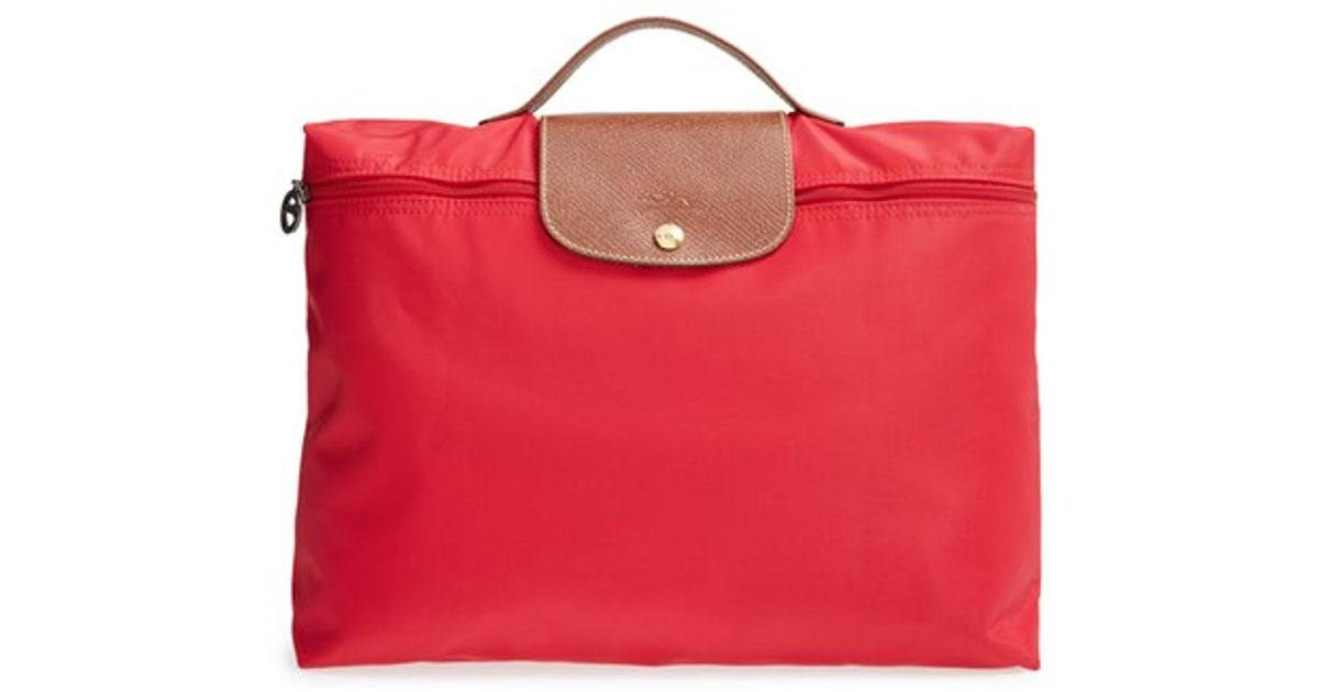 21e7a0615406 Lyst - Longchamp  le Pliage  Briefcase in Red