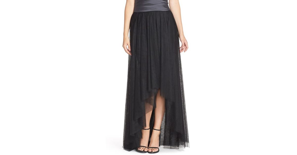 bb06a74429 Monique Lhuillier Bridesmaids High/low Tulle Overskirt in Black - Lyst